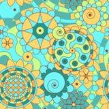 Безшовная картина с абстрактными цветками. Стоковое Фото