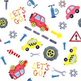 Безшовная картина с автомобилями мультфильма акварели и запасными частями Дизайн одежды детей, обоев, упаковывая, предпосылки, иллюстрация вектора