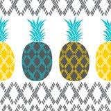 Безшовная картина с ананасами и геометрическими дизайнами иллюстрация штока