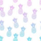 Безшовная картина с ананасами на белой предпосылке также вектор иллюстрации притяжки corel Экзотическая печать лета Красочная кар Стоковые Изображения