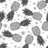 Безшовная картина с ананасами также вектор иллюстрации притяжки corel иллюстрация штока