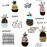 Безшовная картина с ананасом Современная minimalistic текстура с формами нарисованными рукой и экзотическими плодоовощами Большой Стоковая Фотография