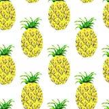 Безшовная картина с ананасом Стоковые Изображения RF