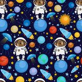 Безшовная картина с астронавтом собаки в космосе Стоковое Изображение RF