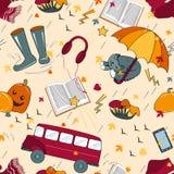 Безшовная картина с атрибутами осени Ненастная погода осени Стоковое Изображение