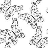 Безшовная картина с бабочками графически иллюстрация штока