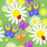 Безшовная картина с бабочками и цветками иллюстрация вектора