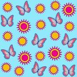 Безшовная картина с бабочками среди цветков также вектор иллюстрации притяжки corel иллюстрация вектора