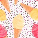 Безшовная картина с бананом, пинк, ванильные конусы мороженого Текстура лета Стоковая Фотография RF