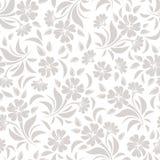 Безшовная картина с бежевыми цветками на белой предпосылке также вектор иллюстрации притяжки corel Стоковое Изображение RF