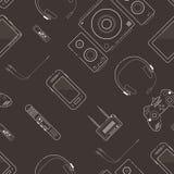 Безшовная картина с белой линией электронными устройствами Стоковые Изображения