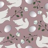 Безшовная картина с белыми голубями и розами Стоковые Изображения