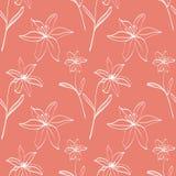 Безшовная картина с белыми лилиями Стоковое Фото