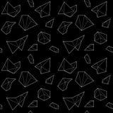 Безшовная картина с белыми полигональными формами на черной предпосылке Стоковые Изображения