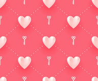 Безшовная картина с белыми сердцами и ключами на красной предпосылке на день валентинки также вектор иллюстрации притяжки corel Стоковое Фото