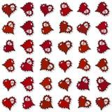 Безшовная картина с богато украшенными красными сердцами и черепами Стоковое Фото