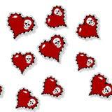 Безшовная картина с богато украшенным красным сердцем и черепом Стоковые Фотографии RF