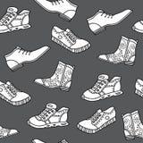 Безшовная картина с ботинками нарисованными рукой Бесплатная Иллюстрация