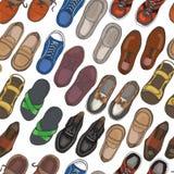 Безшовная картина с ботинками людей Стоковая Фотография RF