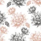Безшовная картина с большими цветками на белой предпосылке Стоковые Изображения