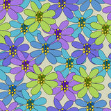 Безшовная картина с большими цветками Стоковое Изображение