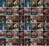 Безшовная картина с букетами сада цветет в вазе Стоковая Фотография