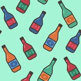 Безшовная картина с бутылками вина на зеленой предпосылке желтый цвет обоев вектора уравновешивания rac померанцовой картины цвет иллюстрация штока
