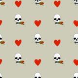 Безшовная картина с вектором сердец и черепов Стоковое Фото