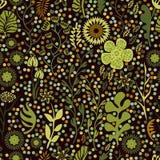 Безшовная картина с ветвями и листьями Стоковое Изображение