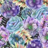 Безшовная картина с ветреницей акварели цветет, папоротник, листья и ветви иллюстрация штока