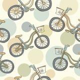 Безшовная картина с велосипедами и кругами Иллюстрация вектора