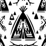 Безшовная картина с вигвамами и стрелками Стоковое Изображение