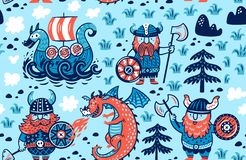 Безшовная картина с Викингами, кораблем и драконом в стиле мультфильма Иллюстрация вектора для детей иллюстрация штока