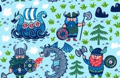 Безшовная картина с Викингами, кораблем и драконом в стиле мультфильма Иллюстрация вектора для детей иллюстрация вектора