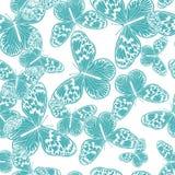 Безшовная картина с винтажной голубой бабочкой стоковое изображение