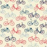 Безшовная картина с винтажными велосипедами Стоковые Изображения
