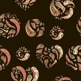 Безшовная картина с винтажными декоративными сердцами и элементами кругов Стоковые Изображения