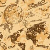 Безшовная картина с винтажным глобусом, абстрактной картой мира, узлами веревочки, лентой Ретро нарисованное рукой приключение ил Стоковое фото RF