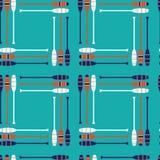 Безшовная картина с винтажным ретро апельсином, военно-морским флотом, белыми веслами с предпосылкой aqua в повторении иллюстрация вектора