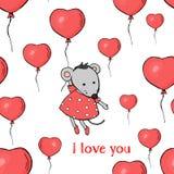 Безшовная картина с воздушными шарами в форме сердца, и мышь Летание мыши в воздушном шаре Цветастый вектор иллюстрация вектора