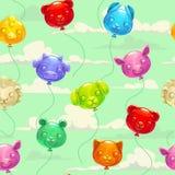 Безшовная картина с воздушными шарами красочного животного форменными Стоковое фото RF