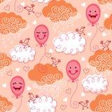 Безшовная картина с воздушными шарами и облаками Стоковые Фотографии RF