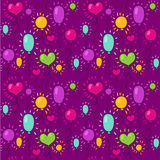 Безшовная картина с воздушными шарами на фиолетовой предпосылке Стоковые Фото