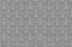 Безшовная картина с воинскими самолетами 01 Стоковые Изображения RF