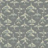 Безшовная картина с воинскими самолетами 02 Стоковое Фото