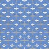 Безшовная картина с воинскими самолетами 03 Стоковое Изображение