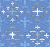 Безшовная картина с воинскими самолетами 04 Стоковое фото RF