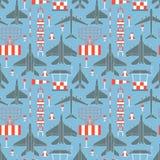 Безшовная картина с воинскими самолетами 05 Стоковое фото RF