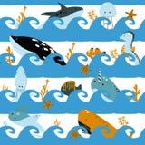 Безшовная картина с волнами и морскими животными - иллюстрацией вектора, eps иллюстрация штока
