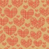 Безшовная картина с вышивкой сердец Стоковые Фото